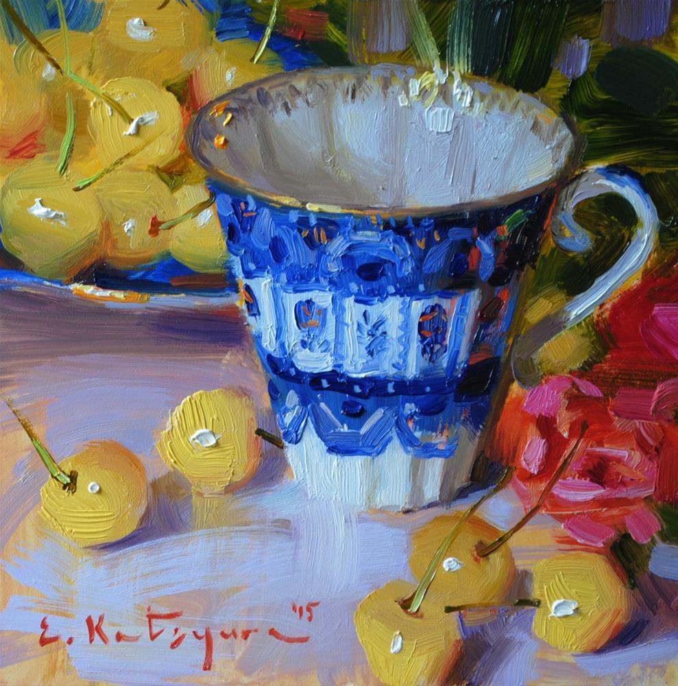 """Teacup and Yellow Cherries"" original fine art by Elena Katsyura"