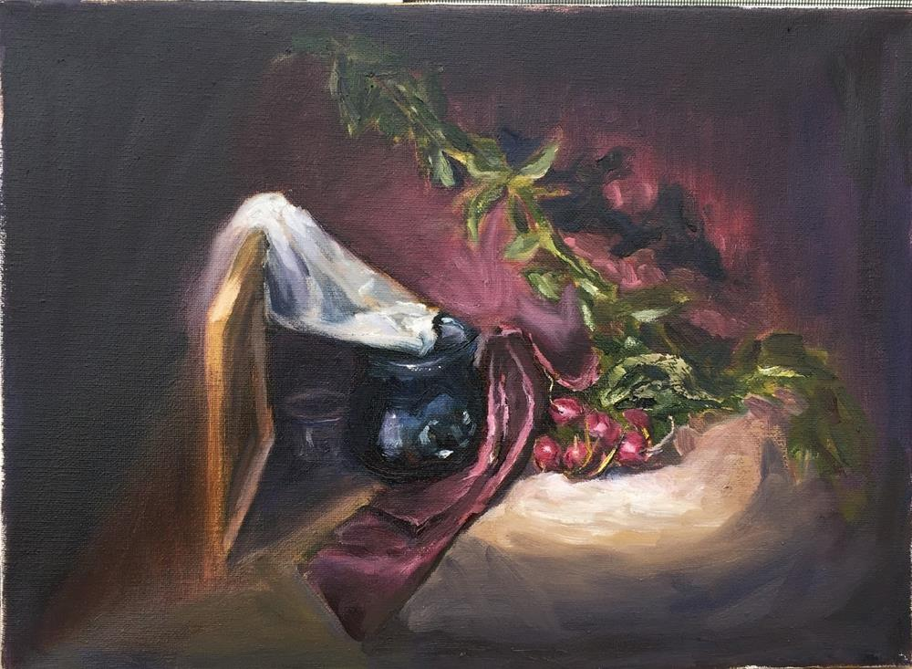 """Blue Vase and Radishes"" original fine art by Rick Blankenship"