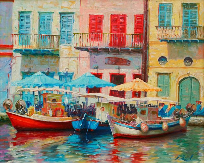 """Castelorizo - Greece, oil painting"" original fine art by Nick Sarazan"