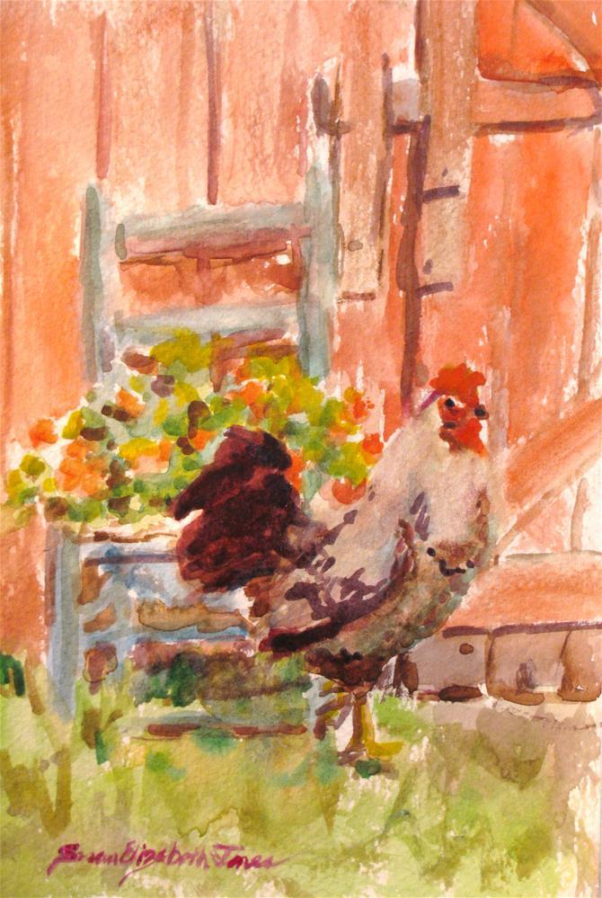 """Flowers in the Barnyard"" original fine art by Susan Elizabeth Jones"
