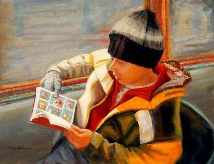 """EXTRA CURRICULAR READING"" original fine art by Dj Lanzendorfer"