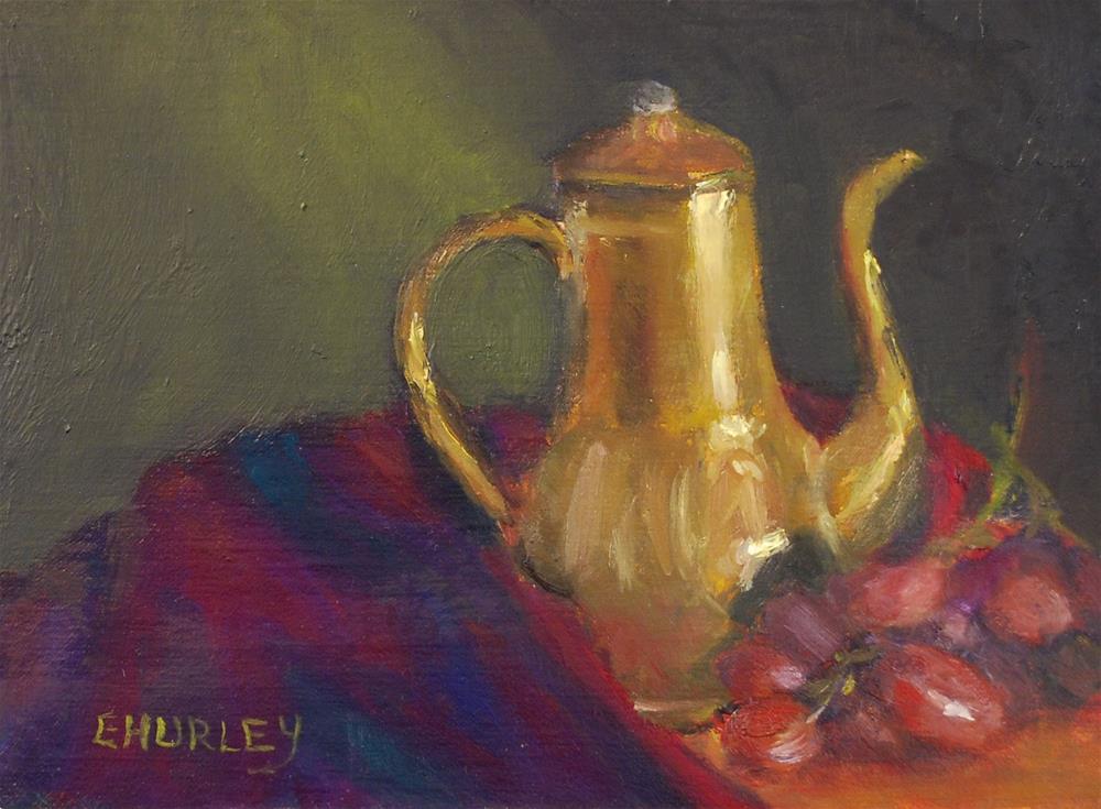 """""""Antique Pot and Grapes"""" original fine art by Ellen Hurley"""