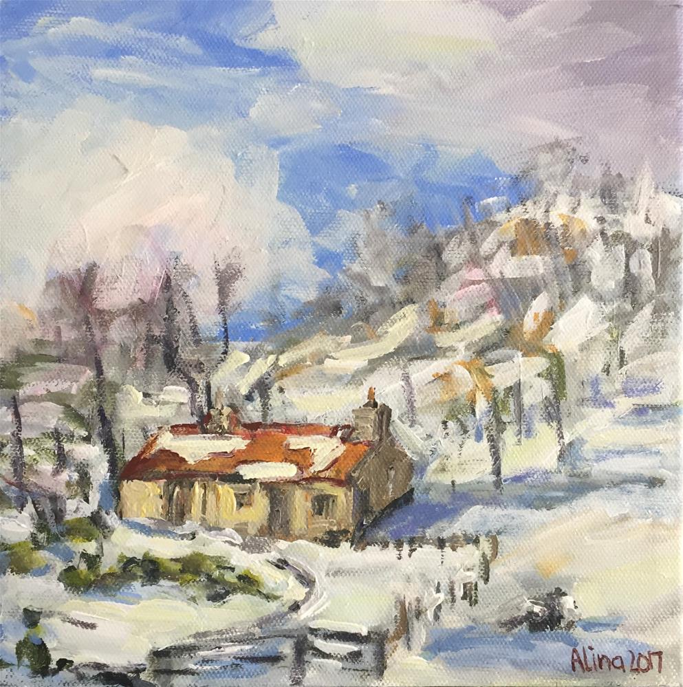 """Cottage in Snow"" original fine art by Alina Vidulescu"
