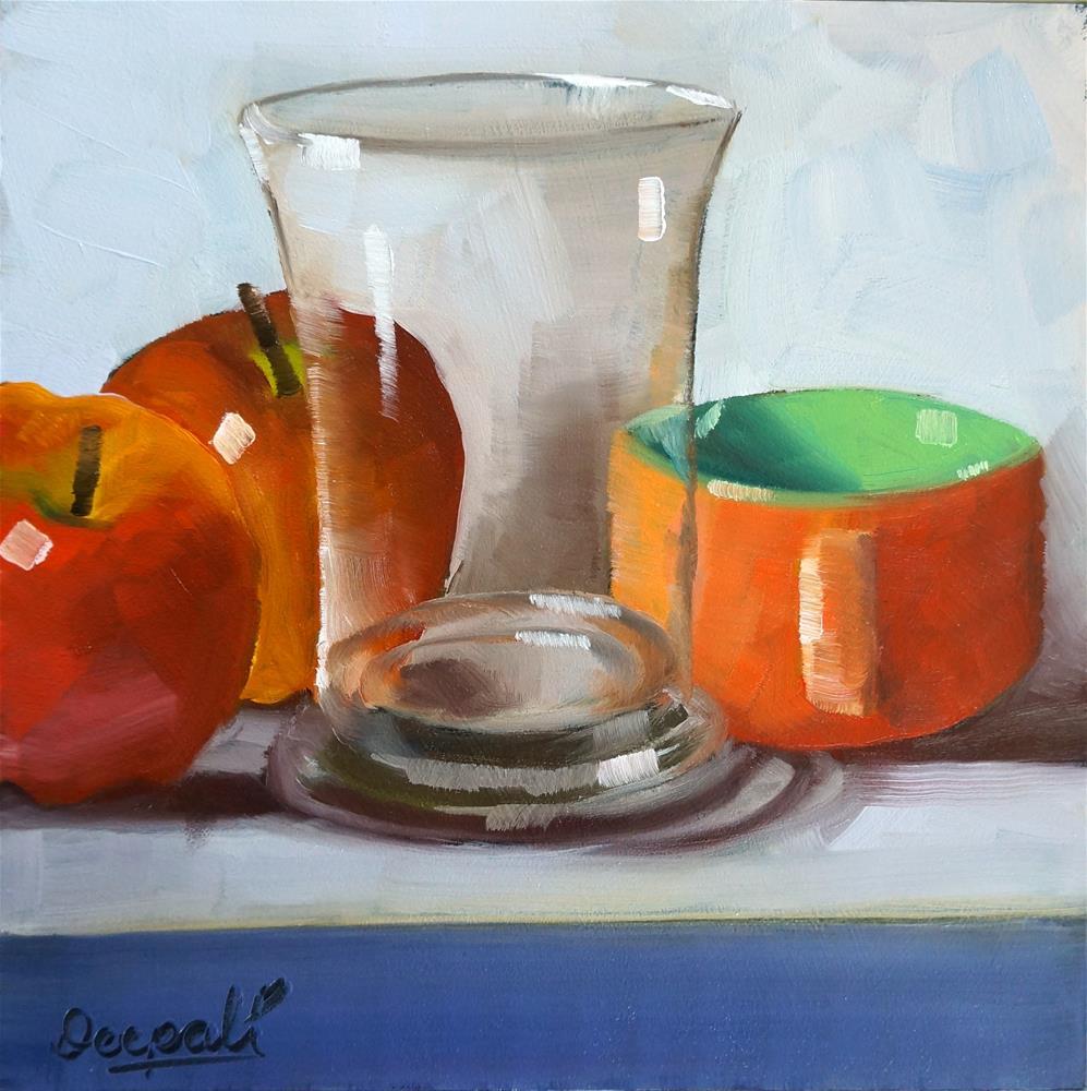 """Apples with glass"" original fine art by Dipali Rabadiya"