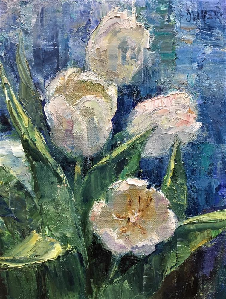 """white tulips"" original fine art by Julie Ford Oliver"