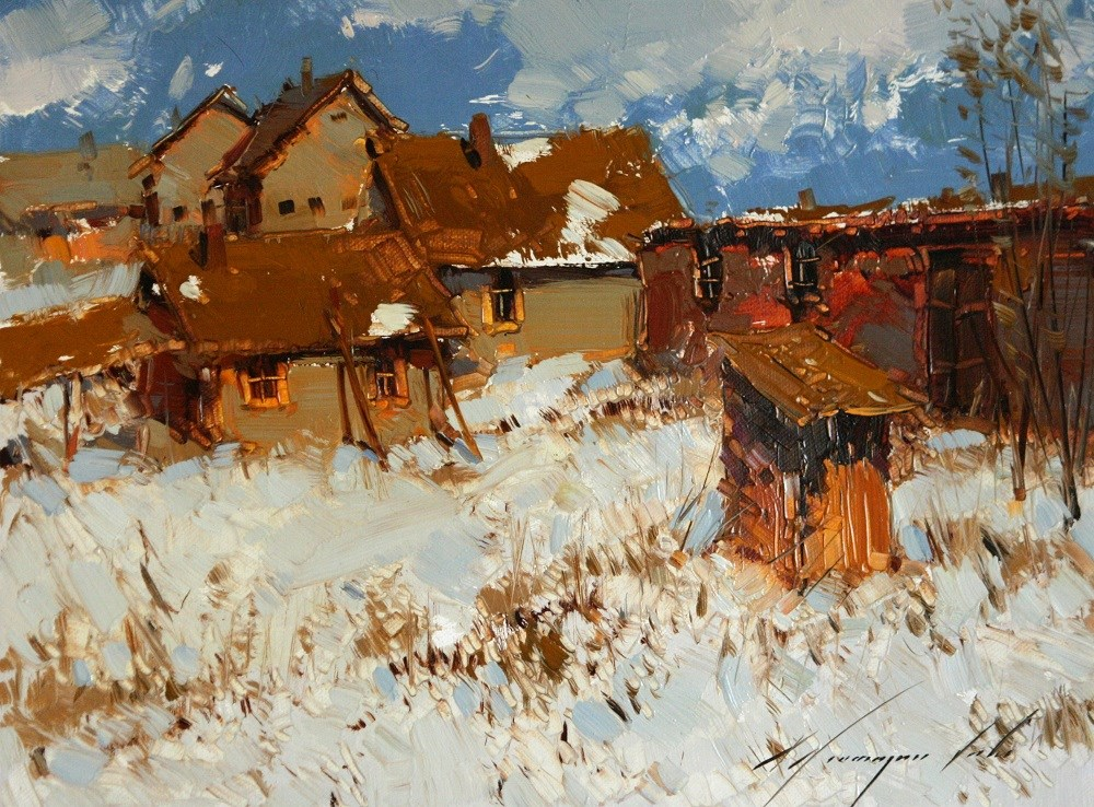 """""""VILLAGE YARD WINTER LANDSCAPE OIL PAINTING ON CANVAS GALLERY QUALITY"""" original fine art by V Y"""