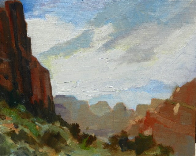 """View from Big Bend Mt Zion National Park, plein air oil painting by Robin Weiss"" original fine art by Robin Weiss"