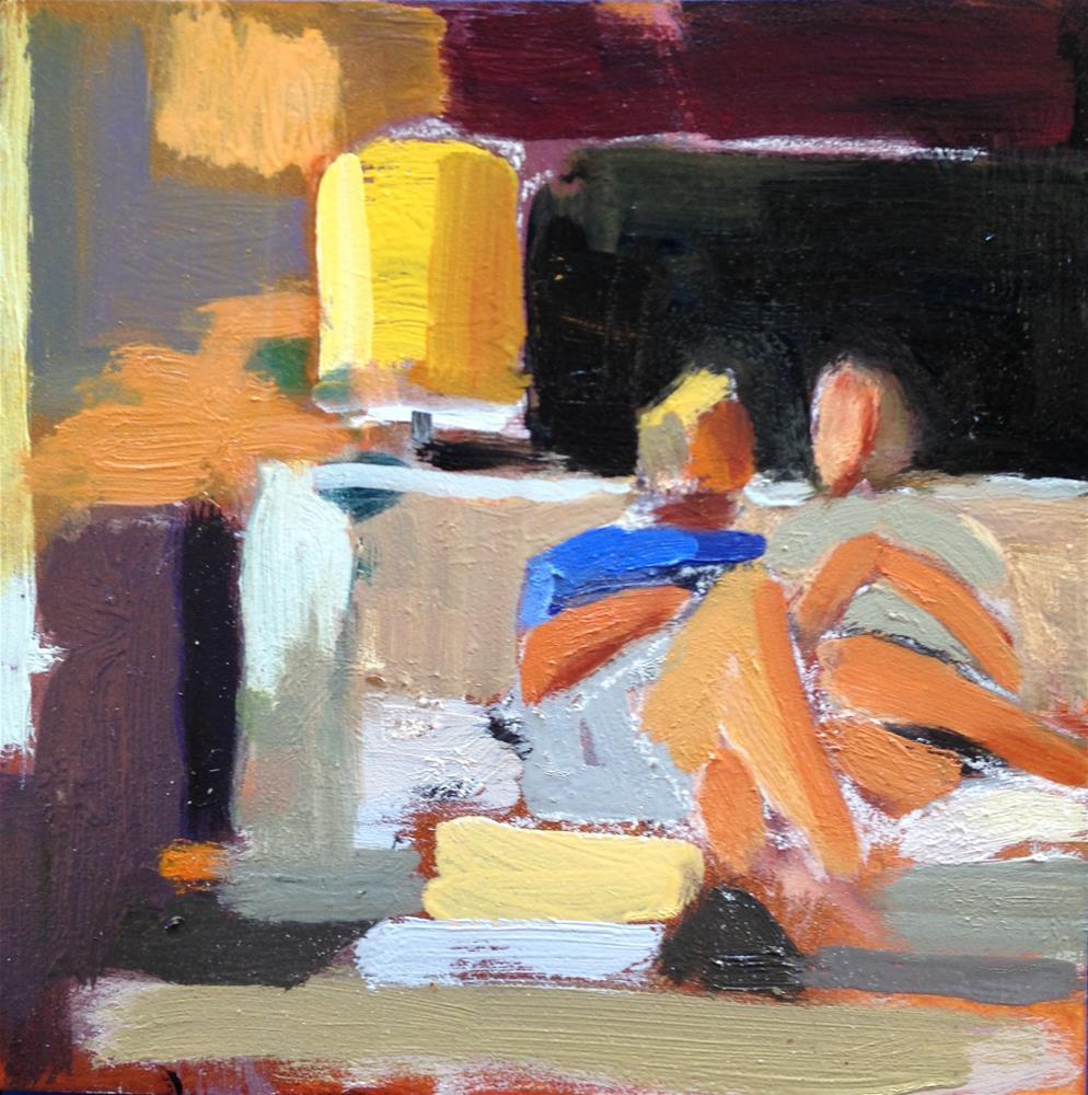 """Snuggling on the Sofa"" original fine art by Pamela Hoffmeister"
