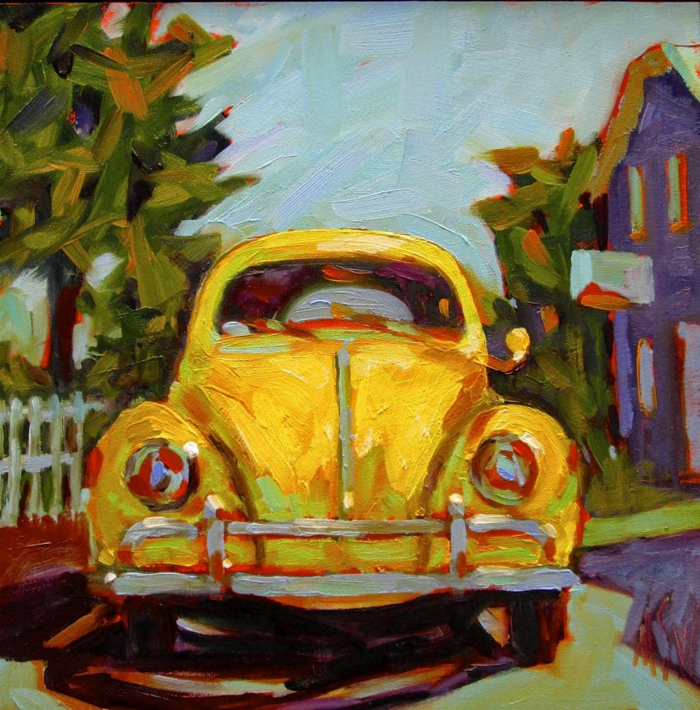 """""""That's Classic Yellow Volkswagen This was a commission done from a previous painting but the customer wanted a yellow VW. I can do these in any color :D"""" original fine art by Mary Sheehan Winn"""