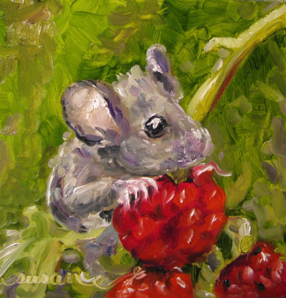 """""""Raspberry Field Mouse"""" original fine art by Susan Elizabeth Jones"""