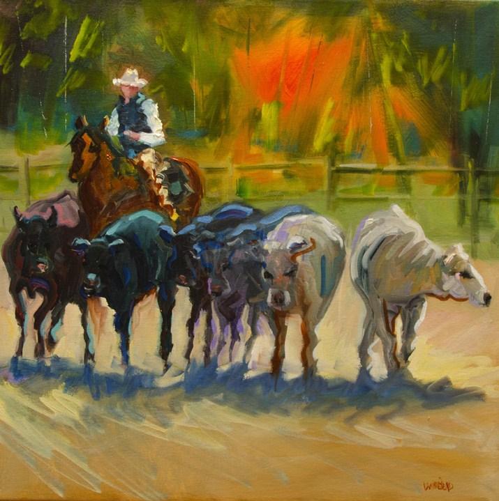 """ARTOUTWEST Diane Whitehead Western art oil painting Cowboy Cattle Round up"" original fine art by Diane Whitehead"