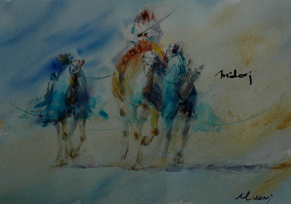 """""""Swiming in Al Ain Camel racetrack"""" original fine art by Midori Yoshino"""