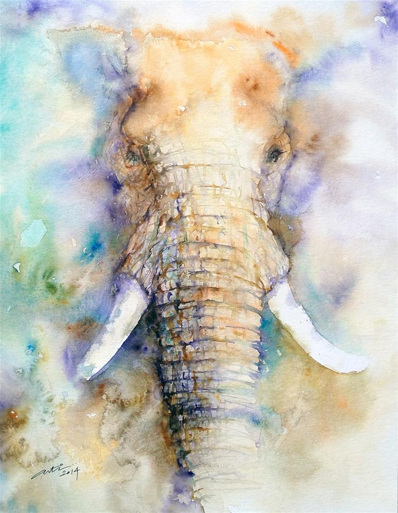 """Dream Big Elephant Portrait"" original fine art by Arti Chauhan"