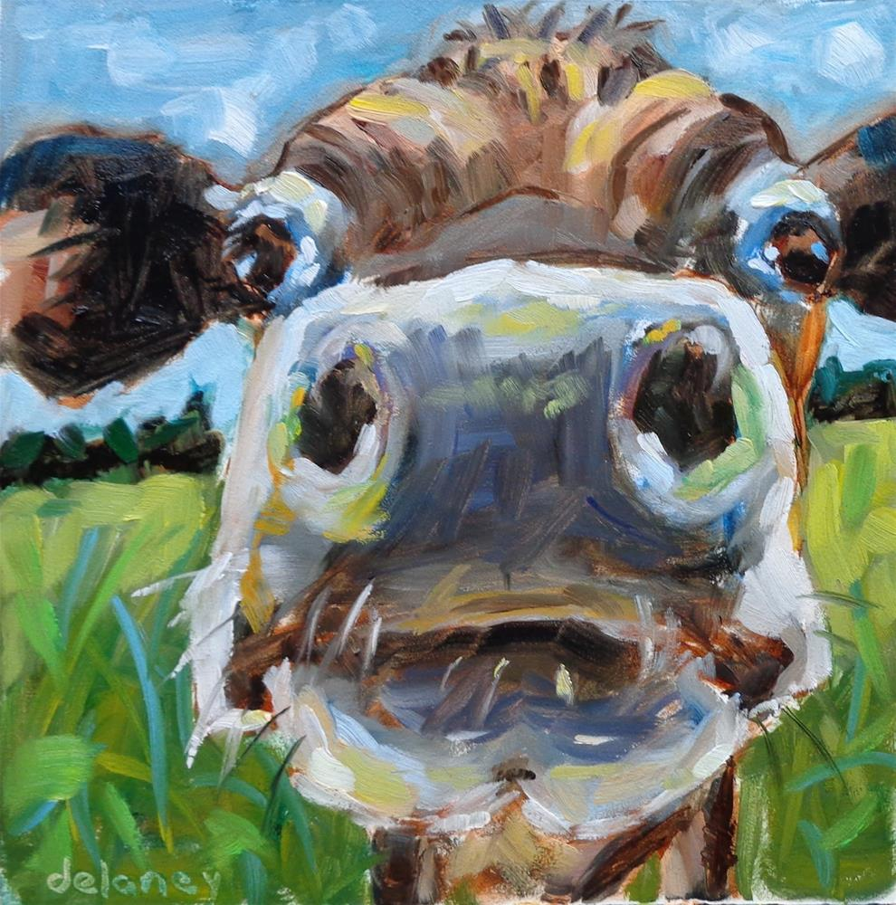 """Cow 110 THE SCHOLAR"" original fine art by Jean Delaney"