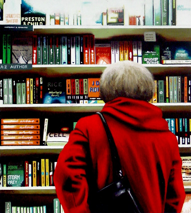 """""""Pick And Choose- Painting Of Woman In Bookstore"""" original fine art by Gerard Boersma"""