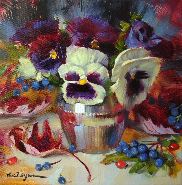 """Pansies & Autumn Leaves"" original fine art by Elena Katsyura"
