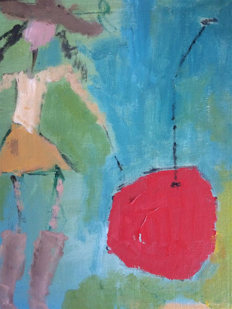 """Oklahoma cowboygirl with pet cherry"" original fine art by pamela kish"
