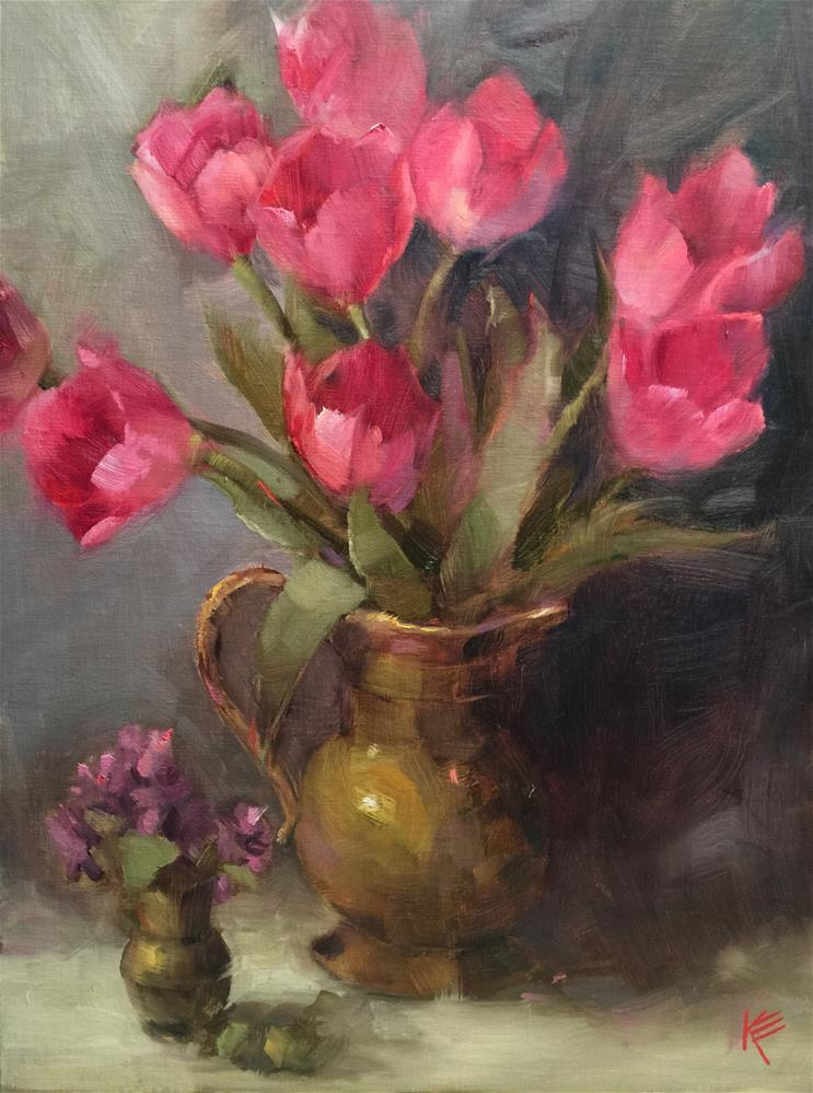 """Tulips & brass pot"" original fine art by Krista Eaton"