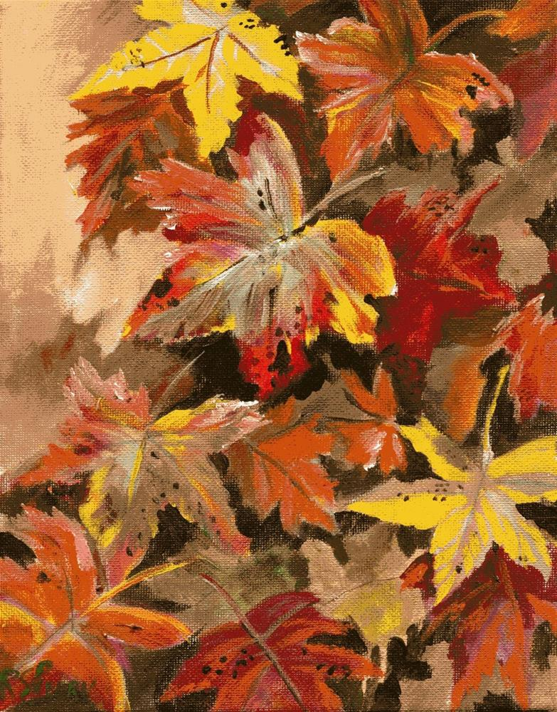 """Falling Leaves "" original fine art by R. S. Perry"