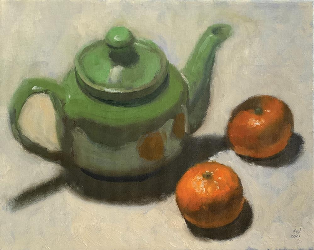 """""""Clementines and Teapot"""" original fine art by Patrick Welsh"""