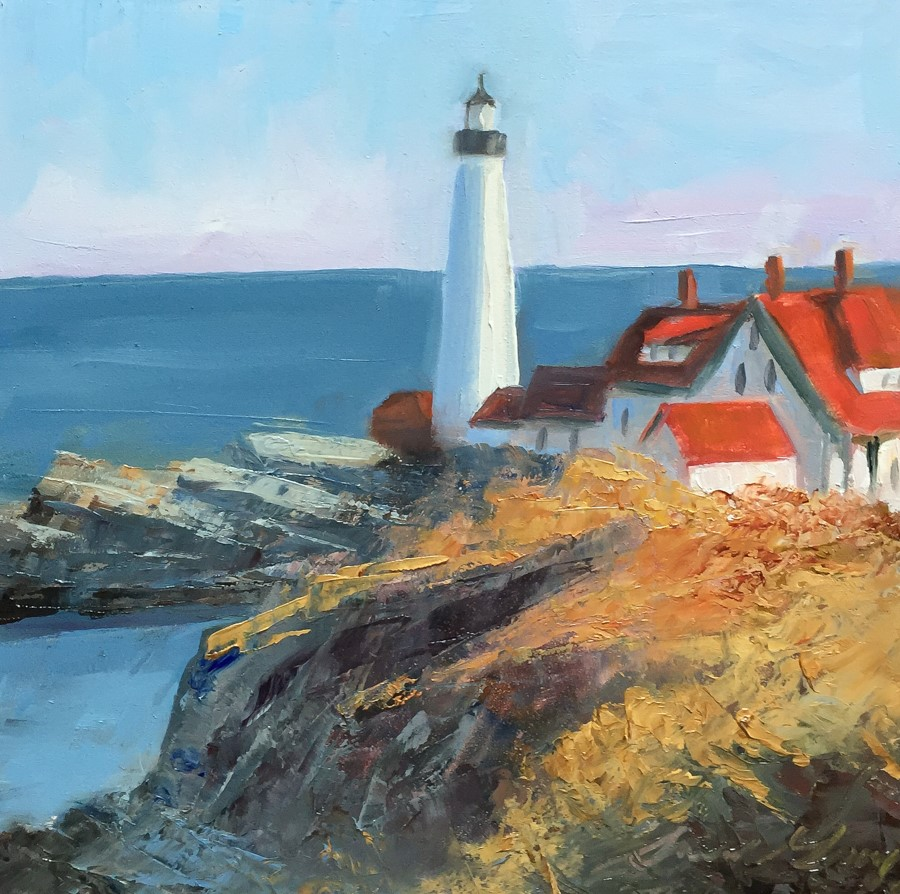 """#170 - Portland Headlight - Cape Elizabeth, ME"" original fine art by Sara Gray"