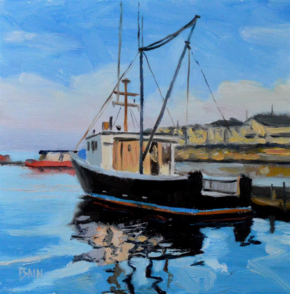 """Fishing Boat Reflections"" original fine art by Peter Bain"