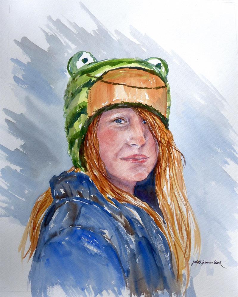 """""""Frog Hat"""" original fine art by Judith Freeman Clark"""