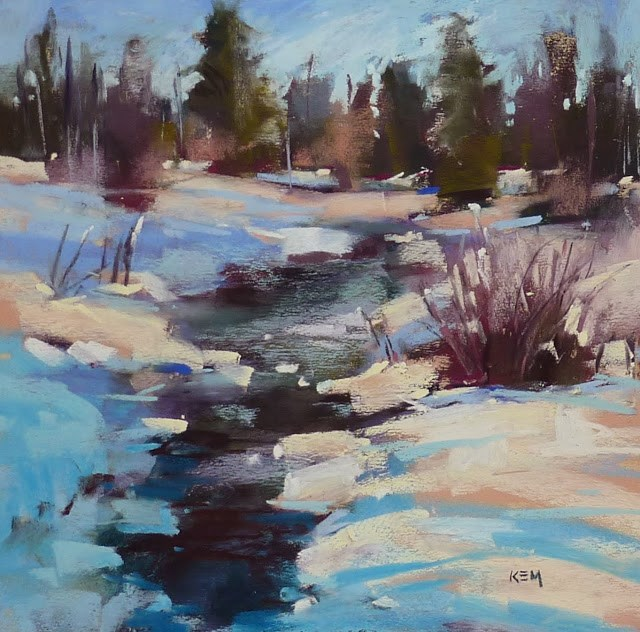 """Painting Shadows on Snow with my New Pastels"" original fine art by Karen Margulis"
