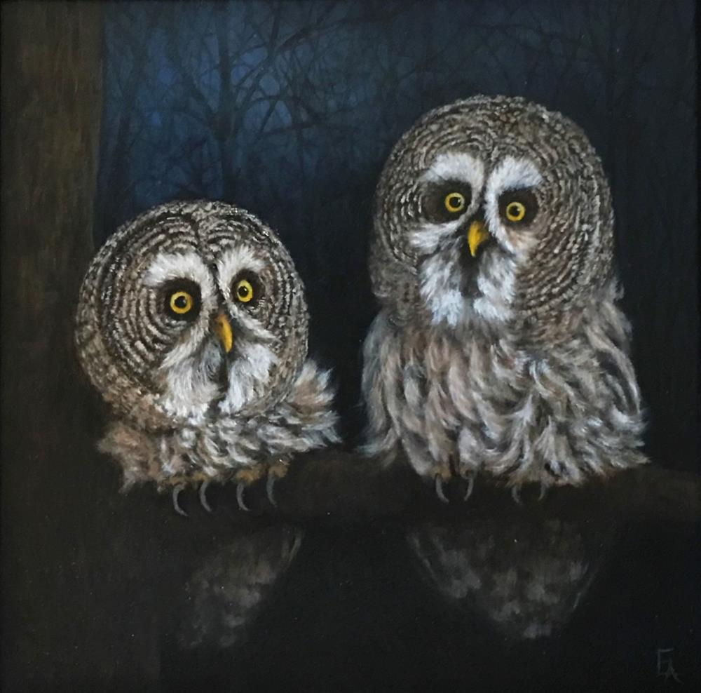 """Owls at Night, Framed"" original fine art by Elizabeth Elgin"
