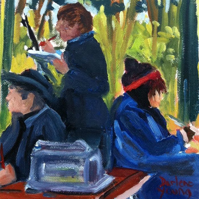"""Alfrescoes, oil on canvas board, 6x6in"" original fine art by Darlene Young"