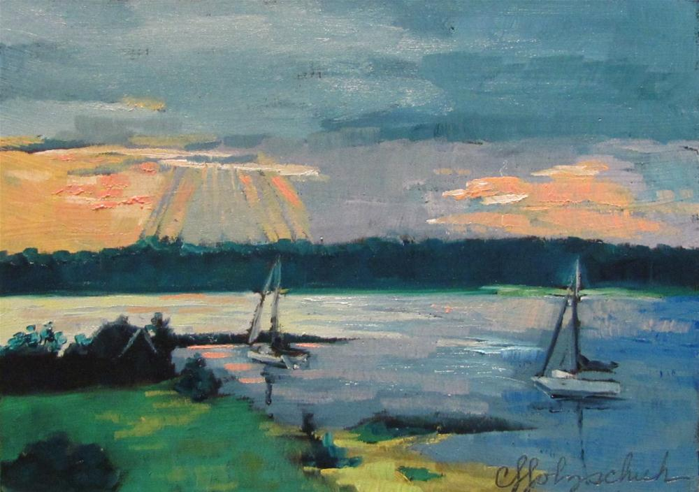 """""""Sunset on the Bay 5x7 oil $100"""" original fine art by Christine Holzschuh"""