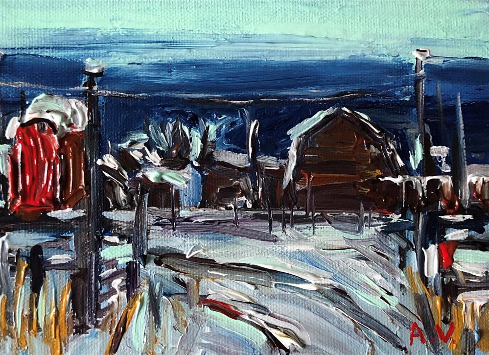 """""""Red Mailbox"""" original fine art by Alina Vidulescu"""