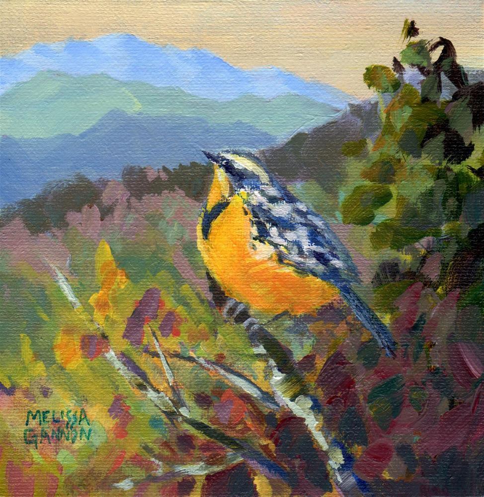"""Meadowlark Pause"" original fine art by Melissa Gannon"