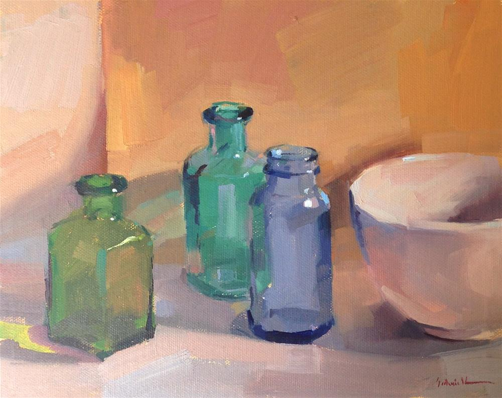 """""""Bottles at the Gallery"""" original fine art by Sarah Sedwick"""