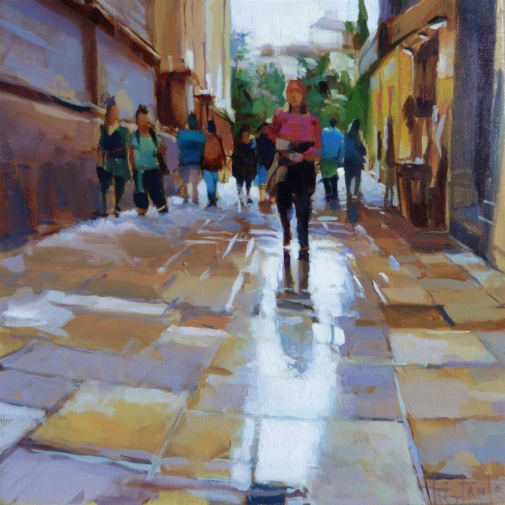 """Rainy day in Granada"" original fine art by Víctor Tristante"