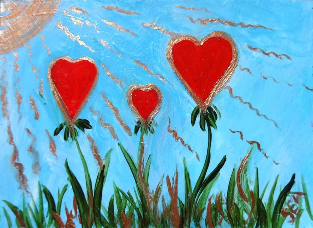 """3205 - SUMMER HEARTS, Family of Love - Silver Frame,"" original fine art by Sea Dean"