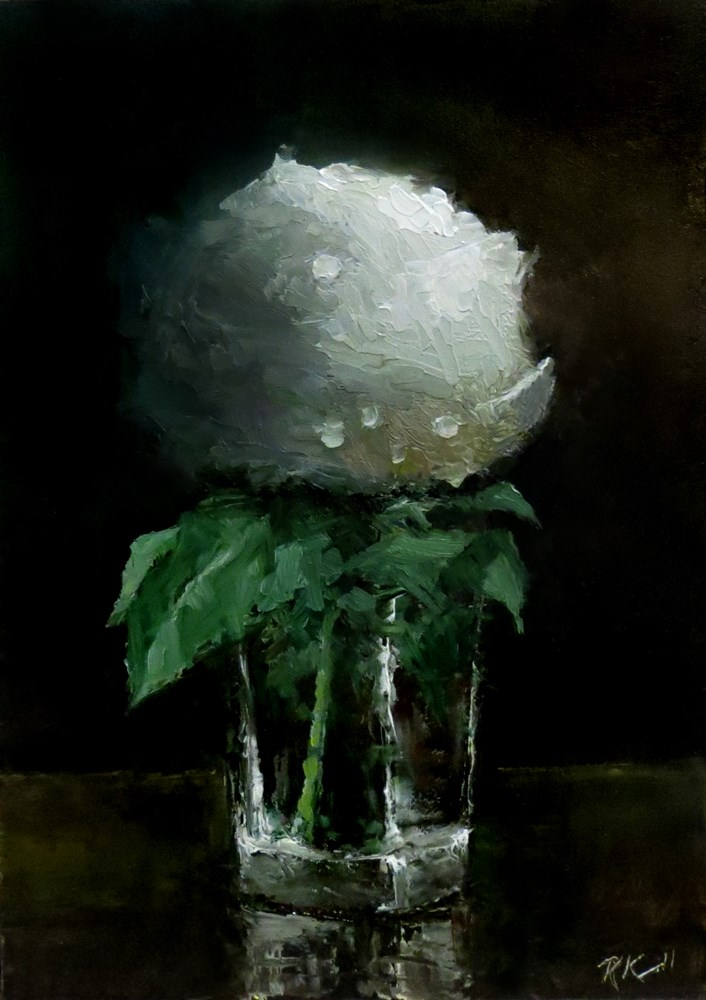 """A Rosebud in a Glass"" original fine art by Bob Kimball"