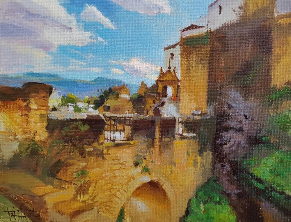 """""""Puente viejo de Ronda"""" original fine art by Víctor Tristante"""