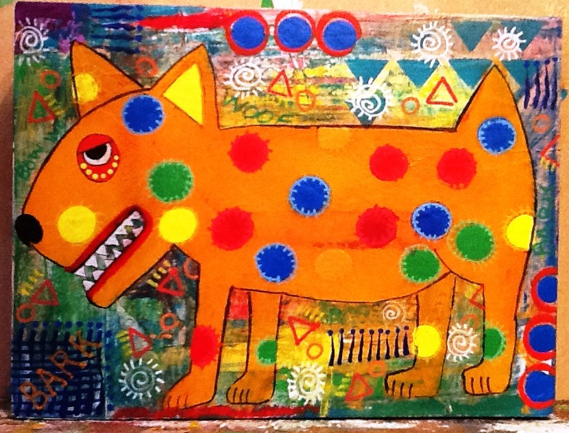 """ORANGE DOG"" original fine art by Cindy Zoglmann"