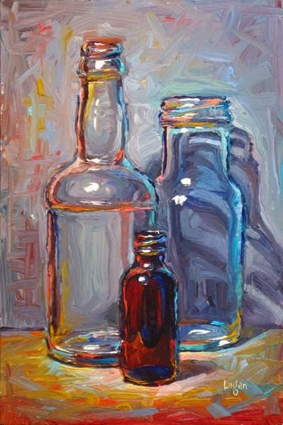 """Bottle Trio #4"" original fine art by Raymond Logan"