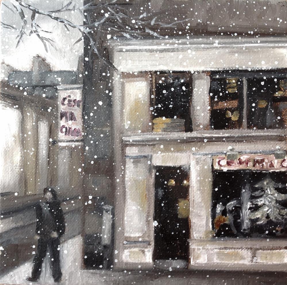"""White Christmas, Quartier Latin, Paris"" original fine art by Anne Ducrot"
