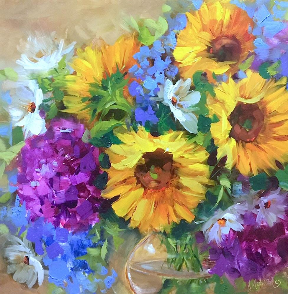 """""""Into the Sky Sunflowers and the Countdown is Blooming!"""" original fine art by Nancy Medina"""