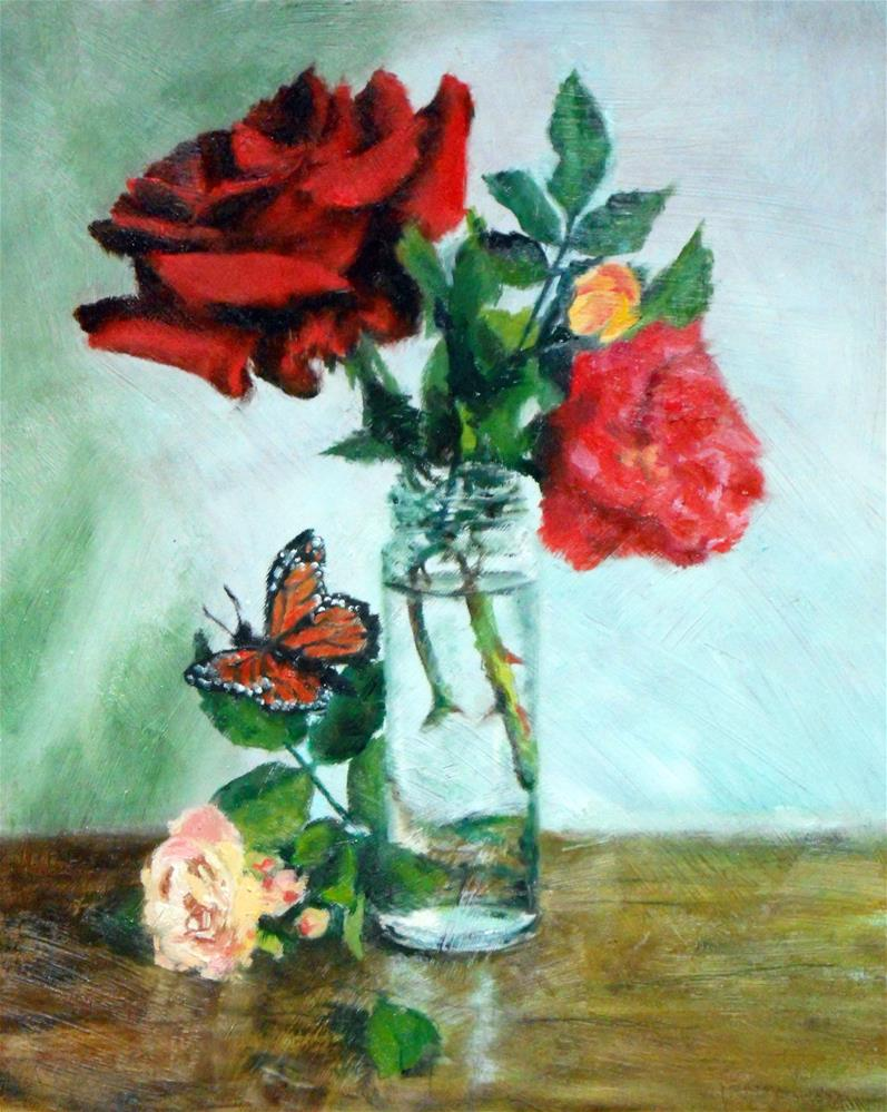 """""""Blooms and Butterfly"""" original fine art by Jill Brabant"""