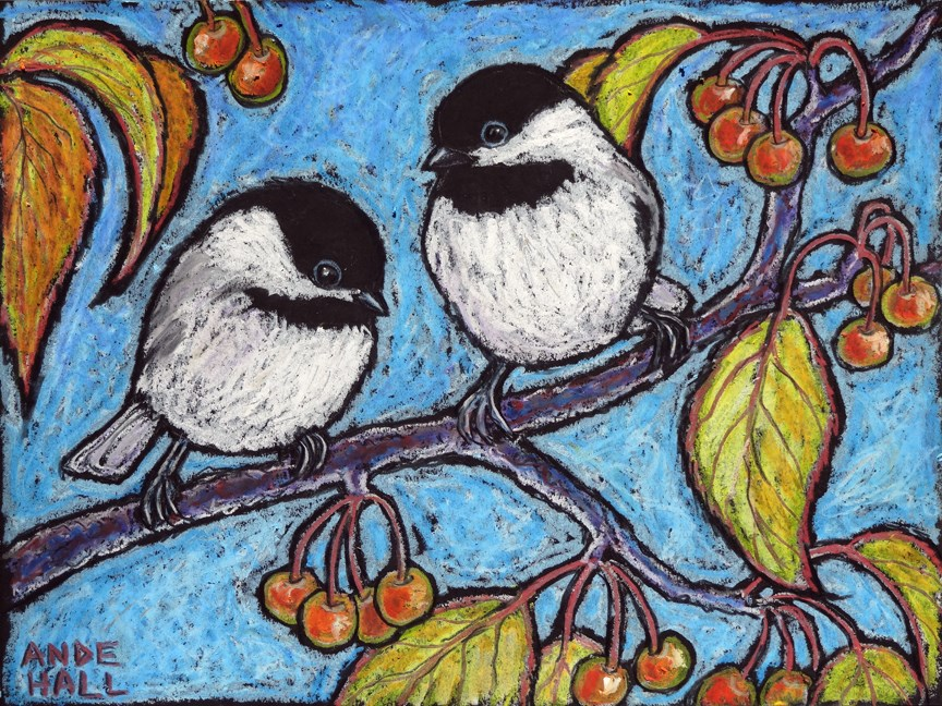 """Chilly Crabapple Chickadees"" original fine art by Ande Hall"