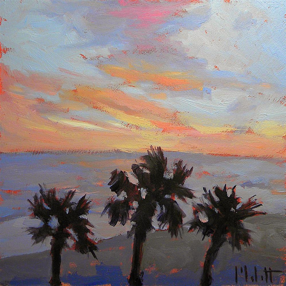 """Ocean Sunset Beach Palm Trees Spring Break Series"" original fine art by Heidi Malott"