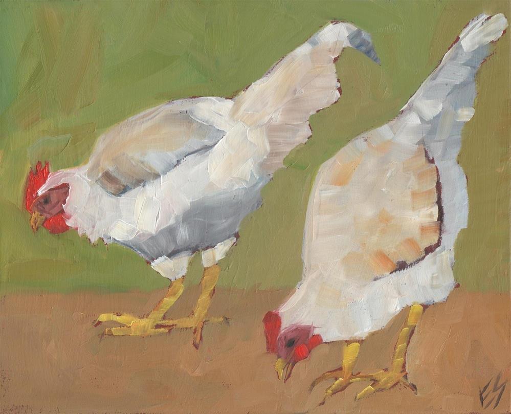 """Two White Chickens"" original fine art by Elizabeth See"