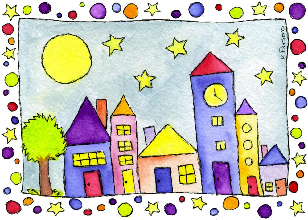 """Tiny Town under the Stars"" original fine art by Kali Parsons"