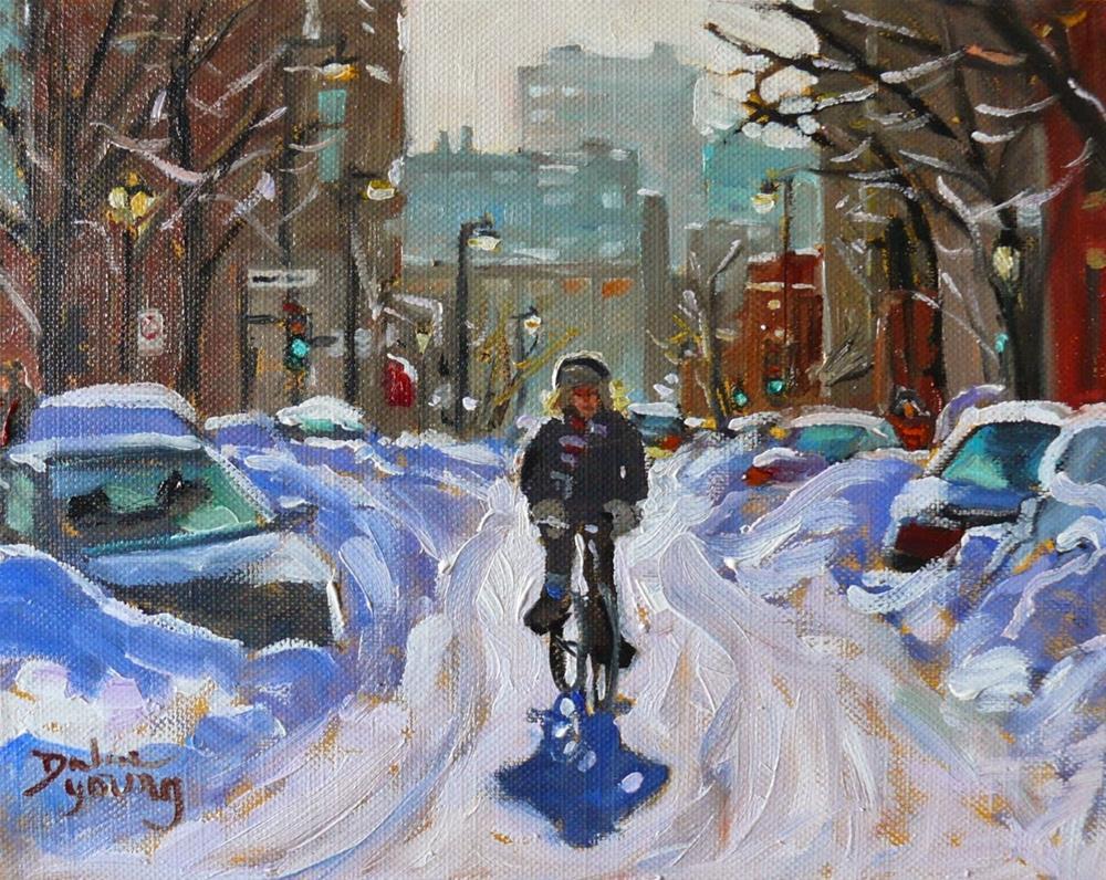 """820 Montreal Winter, Fastest Transport, 8x10, oil"" original fine art by Darlene Young"