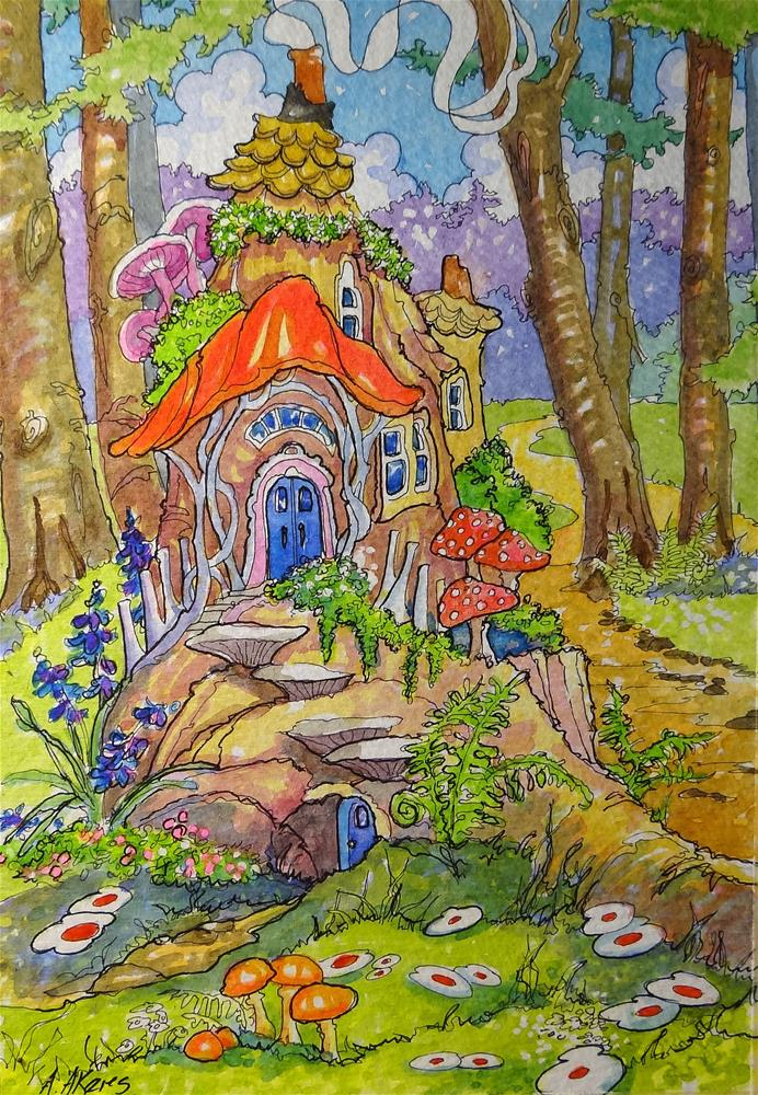 """""""Fairies Moved in Down the Road Storybook Cottage Series"""" original fine art by Alida Akers"""