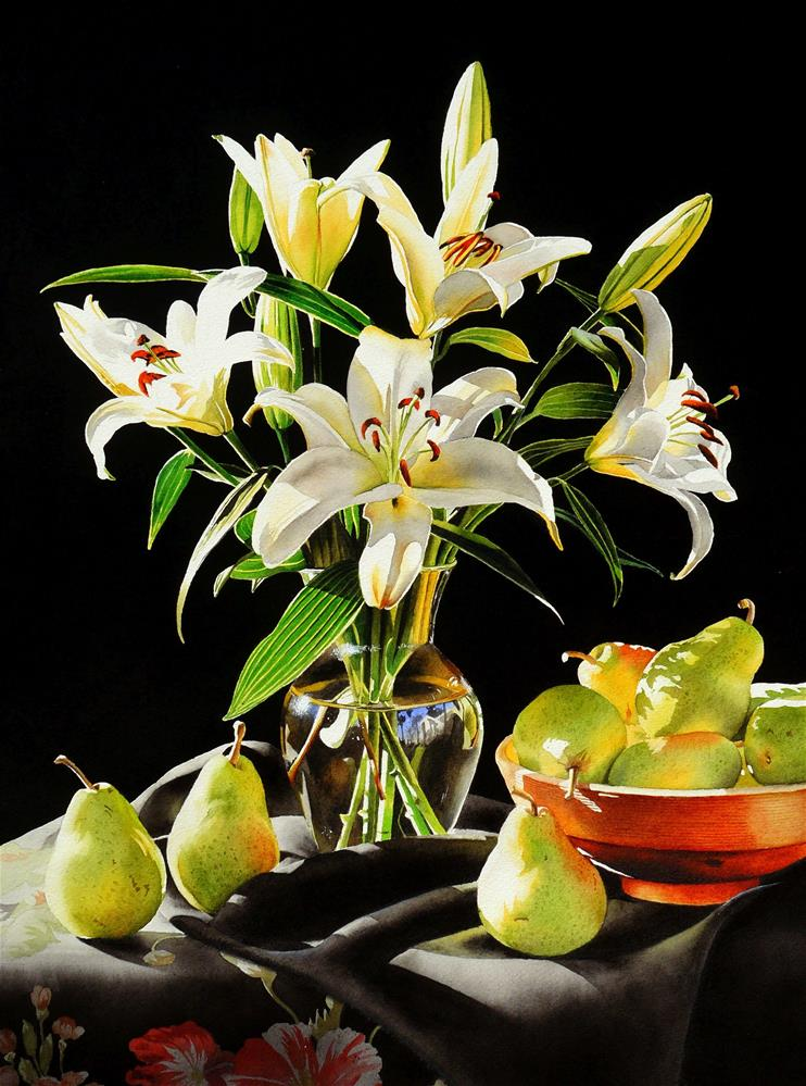 """""""Still Life with Lilies"""" original fine art by Jacqueline Gnott, TWSA, WHS"""